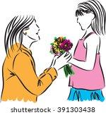 girl giving flowers to her...   Shutterstock .eps vector #391303438