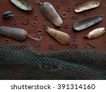 background of fishing stuff.... | Shutterstock . vector #391314160