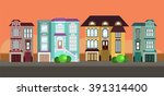 row of houses in town | Shutterstock .eps vector #391314400