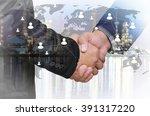 double exposure of businessman...   Shutterstock . vector #391317220