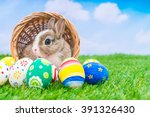 Stock photo rabbit and easter eggs in green grass with blue sky 391326430