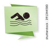 swimmer doodle drawing | Shutterstock .eps vector #391344580