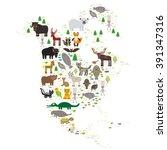 bison bat manatee fox elk horse ... | Shutterstock . vector #391347316