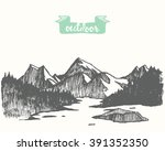 beautiful hand drawn mountain ... | Shutterstock .eps vector #391352350