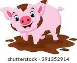 cartoon pig play in a mud puddle | Shutterstock .eps vector #391352914