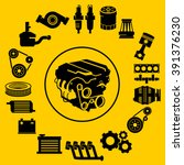 vector car parts set icons | Shutterstock .eps vector #391376230