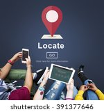Stock photo locate location direction navigation position trip concept 391377646