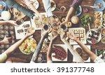 friends happiness enjoying... | Shutterstock . vector #391377748