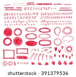 hand drawn vector scribbles set.... | Shutterstock .eps vector #391379536