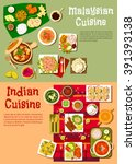 indian and malaysian national... | Shutterstock .eps vector #391393138