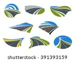roads and modern speed highways ... | Shutterstock .eps vector #391393159