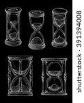 vintage hourglasses chalk... | Shutterstock .eps vector #391394008