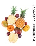 exotic fruit food   a lot of... | Shutterstock . vector #391399789