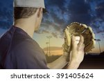 baseball pitcher ready to pitch ... | Shutterstock . vector #391405624