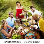diverse people party... | Shutterstock . vector #391411300
