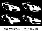 vector sport car silhouette set | Shutterstock .eps vector #391416748