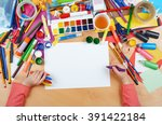 child drawing top view. artwork ... | Shutterstock . vector #391422184