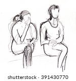two woman are taking a rest and ... | Shutterstock . vector #391430770