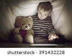 kid under the blanket playing... | Shutterstock . vector #391432228