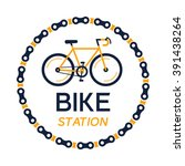 bike station vector with the... | Shutterstock .eps vector #391438264