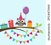 vector birthday party card with ... | Shutterstock .eps vector #391447444