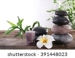 beautiful spa concept on white... | Shutterstock . vector #391448023