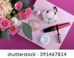 colorful makeup products on... | Shutterstock . vector #391467814