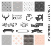 set of 8 hipster hand drawn... | Shutterstock .eps vector #391478776