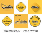 set of tow truck icon. round... | Shutterstock .eps vector #391479490