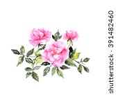 wedding invitation with roses.... | Shutterstock . vector #391482460