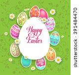 spring easter eggs and flowers. ... | Shutterstock .eps vector #391484470