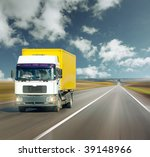 yellow truck on road under blue ... | Shutterstock . vector #39148966