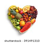 heart symbol. fruits diet... | Shutterstock . vector #391491310