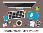 business flat lay | Shutterstock .eps vector #391493329