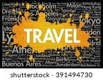 travel word cloud concept made... | Shutterstock .eps vector #391494730