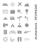 set of 24 gray traveling icons  | Shutterstock .eps vector #391496260