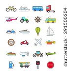 set of 24 color transport icons  | Shutterstock .eps vector #391500304