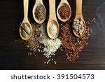 Various Seeds In Wooden Spoons...