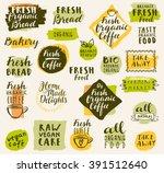 bio organic labels set. fresh... | Shutterstock .eps vector #391512640