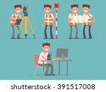 occupation surveyor. stages of... | Shutterstock .eps vector #391517008
