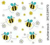 Bee Vector With Daisy Flower....