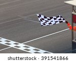 Finish Line And Checkered Race...