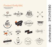 set of vintage premium quality... | Shutterstock .eps vector #391545580