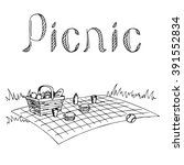 picnic graphic art black white... | Shutterstock .eps vector #391552834