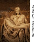 Small photo of Michelangelo's Pieta in St Peter's Basilica, Rome, Italy