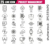 thin line icons set of project... | Shutterstock .eps vector #391555690