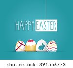 easter blue poster with hanging ... | Shutterstock .eps vector #391556773