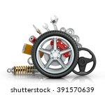 car parts around the wheel... | Shutterstock . vector #391570639
