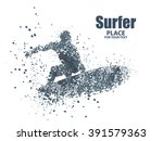 silhouettes of surfers particle ...