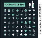 food and drinks icons  | Shutterstock .eps vector #391580128